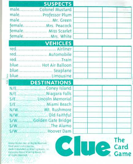 Printable Clue Scoresheet Pictures to pin on Pinterest